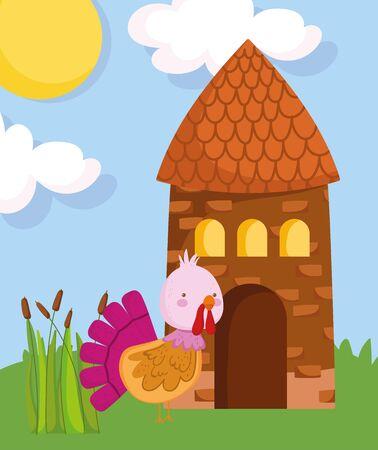 cute turkey and cottage plants grass sun farm animal cartoon vector illustration Ilustração