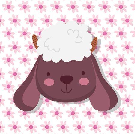 sheep farm animal cartoon flowers background vector illustration