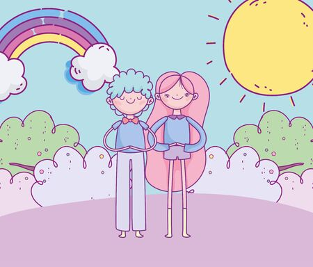 happy valentines day, smiling couple grass rainbow sun clouds vector illustration