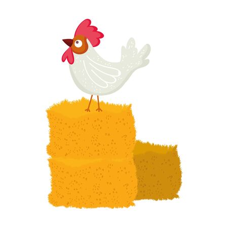 rooster on hay farm animal cartoon vector illustration 일러스트