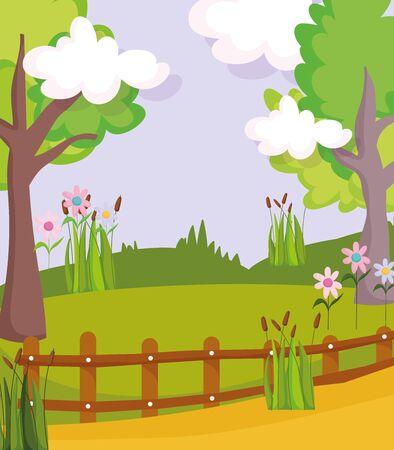 landscape nature tree clouds path flowers fences vector illustration Ilustração