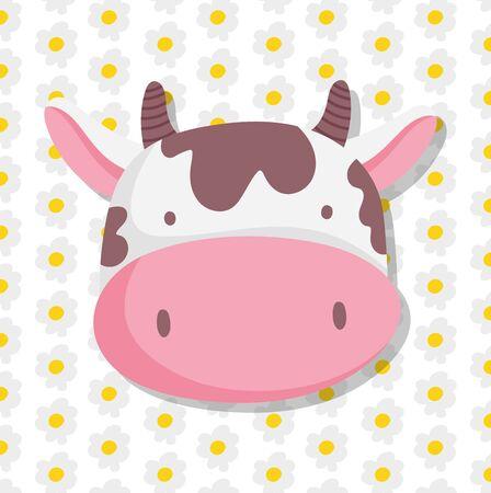 cow face farm animal cartoon flowers decoration background vector illustration Ilustração