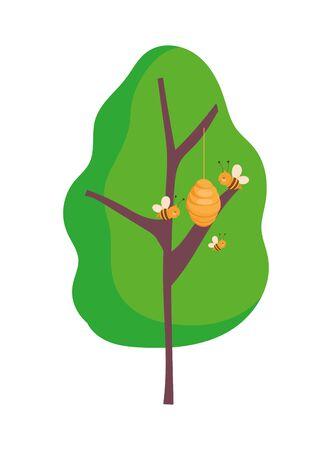 Ilustración de vector de diseño de granja de árbol de colmena de panal de abejas voladoras