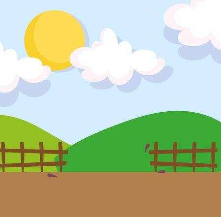 landscape farm hills fence field clouds sun cartoon vector illustration