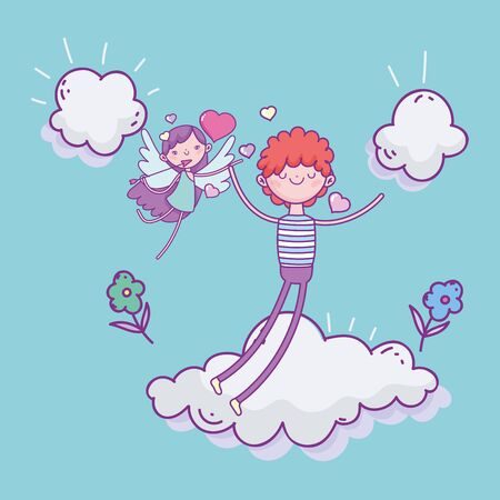 happy valentines day, cute boy in love and cupid clouds flowers romantic vector illustration