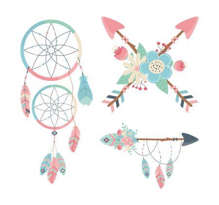 set of decorations boho style vector illustration design Ilustração