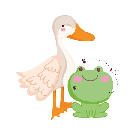 goose and frog farm animal cartoon vector illustration
