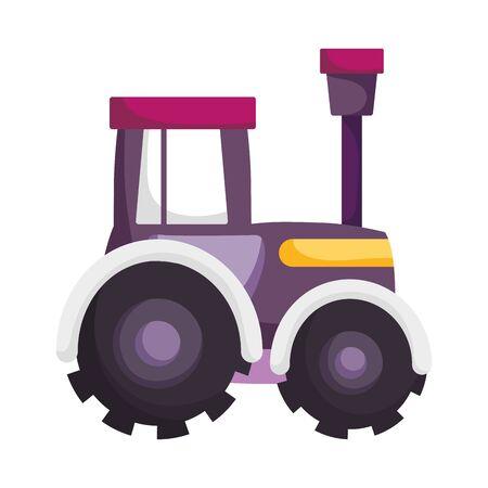 tractor truck machine farm cartoon vector illustration