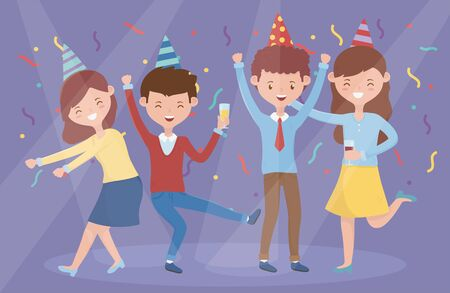 group people dancing celebrating party vector illustration