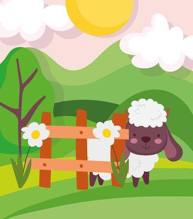 sheep fence flowers trees meadow farm animal cartoon vector illustration Ilustração