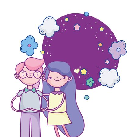 happy valentines day, cheerful couple hugs flowers stars clouds romantic vector illustration