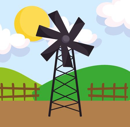 windmill wooden fence hills sun farm cartoon vector illustration