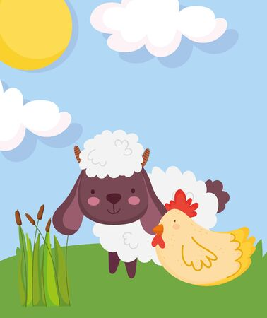 sheep and hen grass plants sun farm animal cartoon vector illustration 일러스트