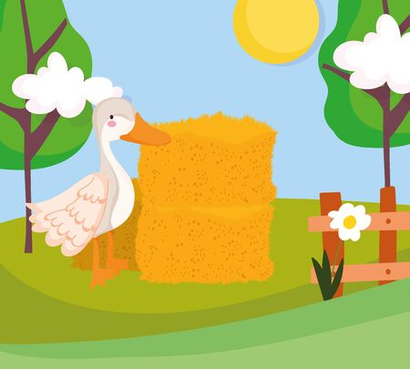 goose hay stack fence flower trees farm animal cartoon vector illustration