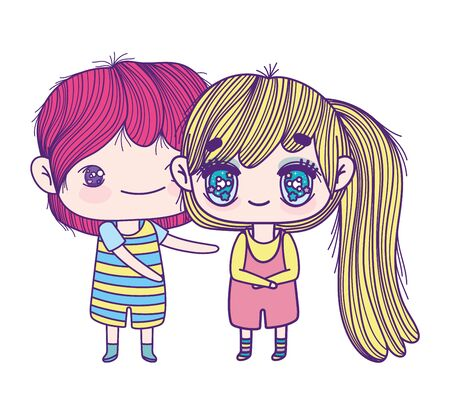 kids, little girl and boy anime cartoon characters vector illustration