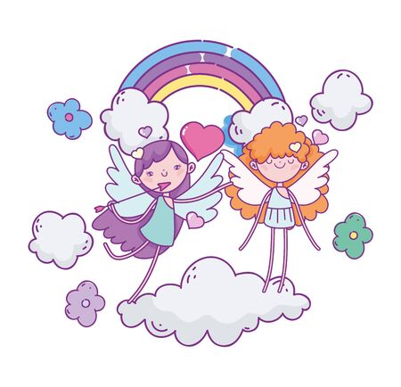 happy valentines day, flying cupids characters clouds flowers rainbow vector illustration