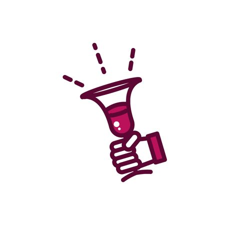 hand with wine glass celebration drink beverage icon vector illustration line and filled