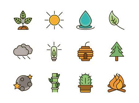 nature foliage botanical ecology drawing icons set vector illustration