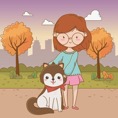 Girl with dog cartoon design, Mascot pet animal nature cute and puppy theme Vector illustration Ilustrace