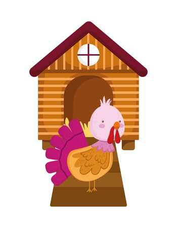 wooden barn and turkey bird farm animal cartoon vector illustration