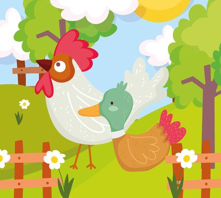 rooster and duck fence flowers trees farm animal cartoon vector illustration