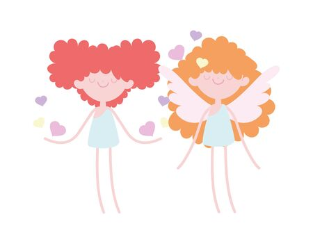 happy valentines day, cute cupids with hearts love romantic vector illustration