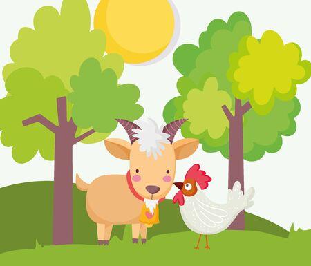 goat and rooster trees sun grass farm animal cartoon vector illustration