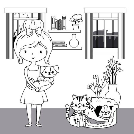 Girl with cat and dogs cartoons design, Mascot pet animal domestic cute life nature and fauna theme Vector illustration