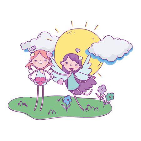 happy valentines day, cute cupids cartoon arrow heart sun clouds vector illustration