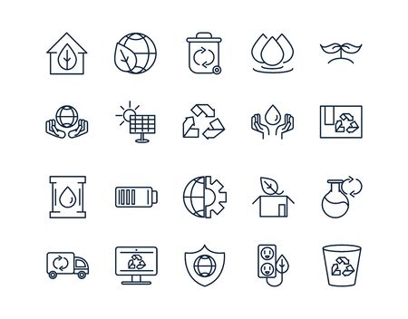 ecology environment renewable sustainable icons set linear vector illustration