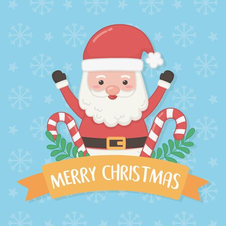 merry christmas card with santa claus and sweet cane vector illustration design