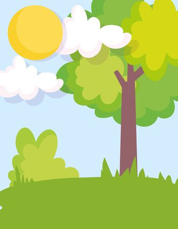 tree bush field landscape farm clouds sun scene vector illustration 일러스트