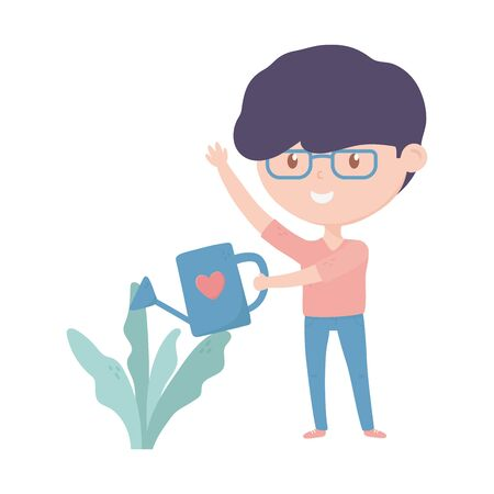 young man watering can plant in pot vector illustration 向量圖像
