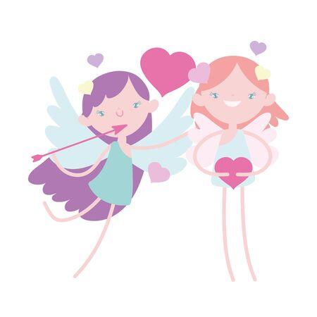 happy valentines day, funny cupids with hearts arrow cartoon vector illustration Ilustrace
