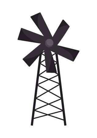 windmill wooden agriculture farm cartoon vector illustration Ilustracja
