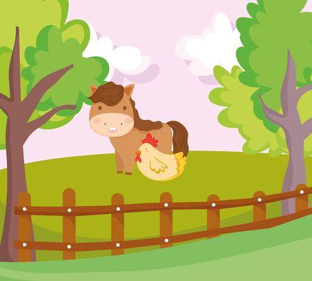 horse and hen wooden fence grass trees farm animal cartoon