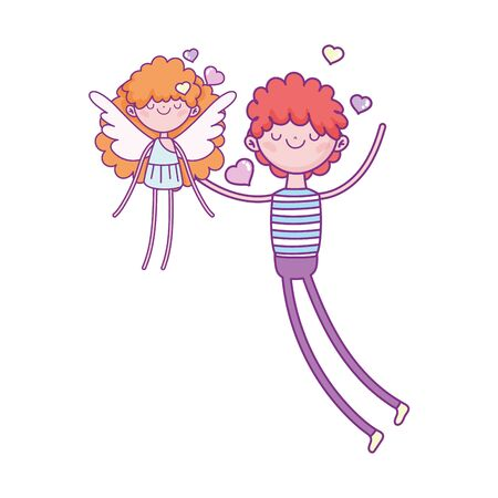 happy valentines day, young man and cute cupid love hearts vector illustration