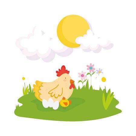 cute hen chicken and eggs flowers grass sun farm animal cartoon vector illustration 向量圖像