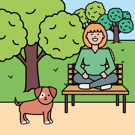 young woman with little dog in the park