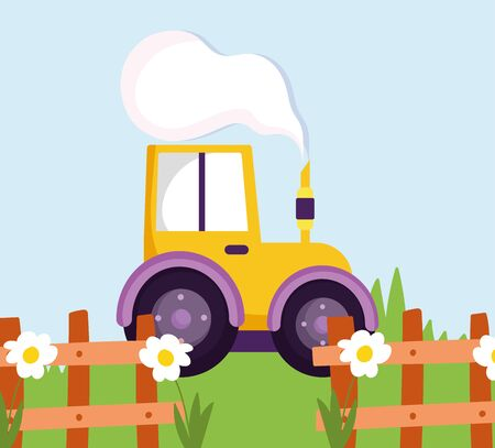 tractor truck wooden fence flowers grass farm cartoon vector illustration
