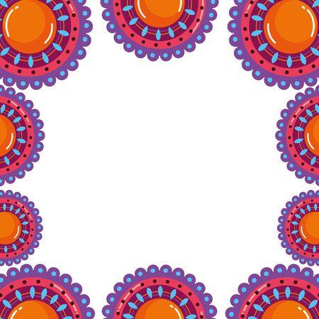 Mandala frame of bohemic concept Ilustração