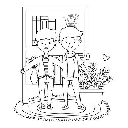 Teenage friends at home design Çizim