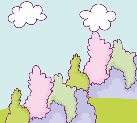landscape foliage bushes greenery natural clouds cartoon vector illustration
