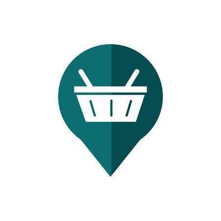 pin location basket market business commerce shopping vector illustration