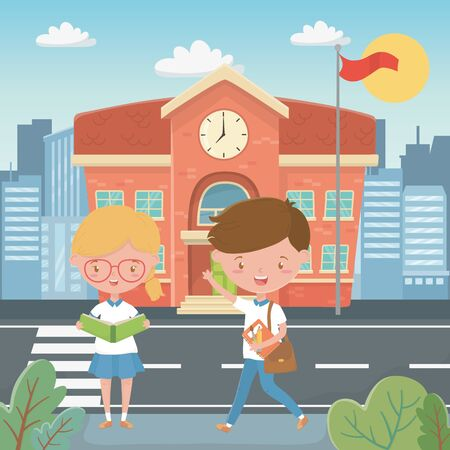 School building and kids design, Education lesson study learning classroom and information theme Vector illustration