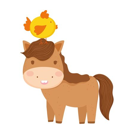 horse with chick in head wooden fence flowers farm animal cartoon vector illustration