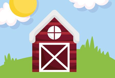wooden barn meadow sun clouds farm cartoon vector illustration Ilustração