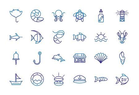 marine life nautical sea animals and equipment thick line blue icons Foto de archivo - 138396983