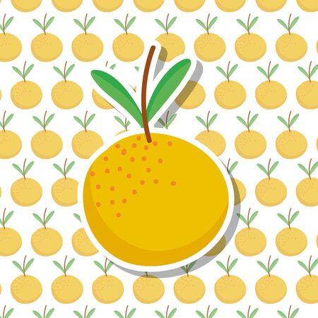 farm orange citrus fruit fresh food cartoon background vector illustration