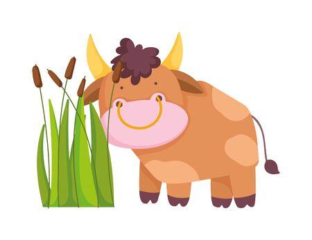 bull plants vegetation farm animal cartoon Ilustração